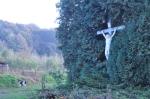 Jesus on a crucifix, in a hedge